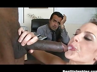 Husband watches wives with black cocks cumshot