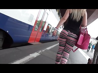Very big ass in hot leggings in street