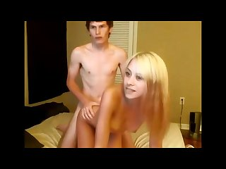 Cute blonde teen sucks and fucks boyfriend on cam