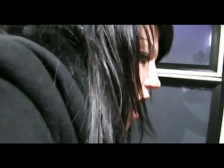 Dark haired cutie gets fucked from behind in the train toilet