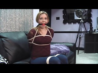 Dumb slut isabella first time tied up and ball gagged