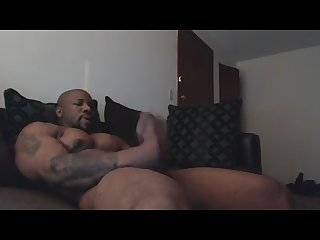 Sexy mature black guy jerks off