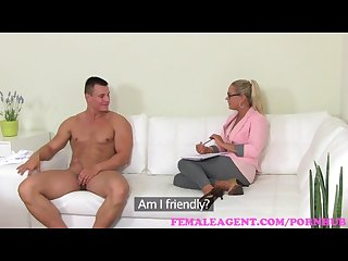 Femaleagent big cumshot on milf agents stomach from sexy stud