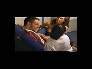 Stocking stewardess sex in the airplane