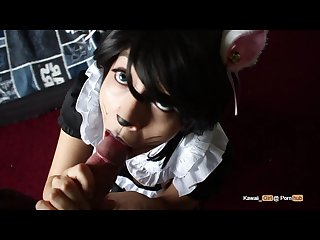 Neko maid Halloween blowjob