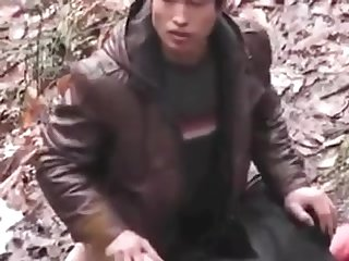 Chinese boy fucking a professional in a park