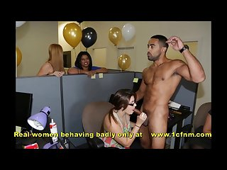 Secretaries sucking strippers at work birthday party