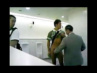 Asian guy wank in public