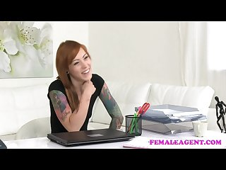 Femaleagent tattooed emo licks agent to orgasm