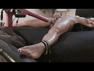 Milf babe tied up on back cums hard fucking machine