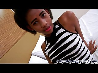 Teen ebony shemale cums