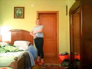 Morning time hidden cam in bedroom of my nice mom