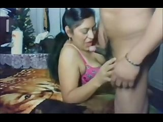 Indian Bhabhi blowing big cock