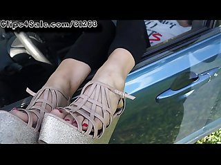 Cumming on sleepy feet in car 1080