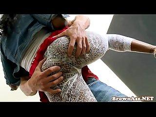 Black beauty babe sucking dick before cumshot