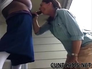 Middle Aged Slut Sucks BBC Infront of the Neighborhood - More at cuntcams.net