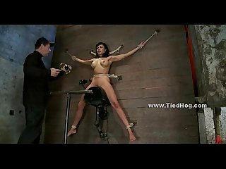 Slut with huge nipples bound on wall