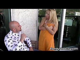 Fucking my blonde step sister on our balcony familystroking com