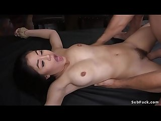 Asian caned and anal fucked in ropes