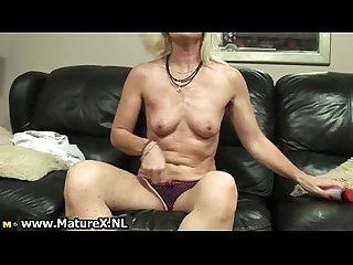 Horny blonde mature mom loves fucking