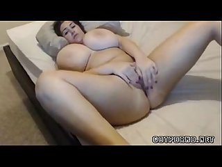 Cute babe with really huge tits masturbates on webcam