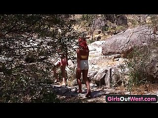 Girls out west lesbian aussie Hitchhiker licked outdoors