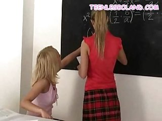 Blonde schoolgirls stripping