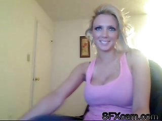 Very sexy blonde with big tits doing a sexy webcam live show at sfxcam com