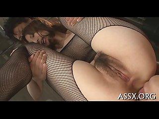 Stimulating oriental trio fucking