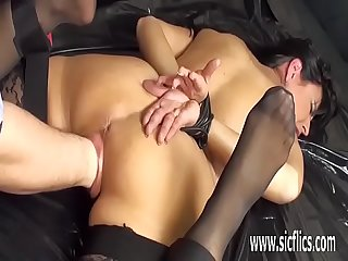 Brutally fisting hot milf pussy in bondage