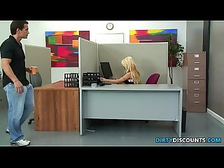 Huge titted office skank swallows facial load