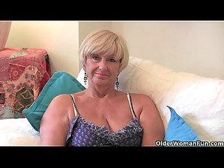 British granny with big tits masturbates with her Sex toy collection