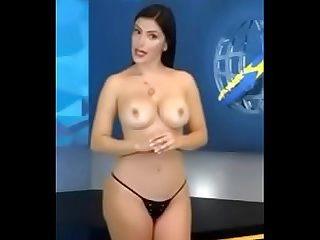 News reader undressing herself during news hour