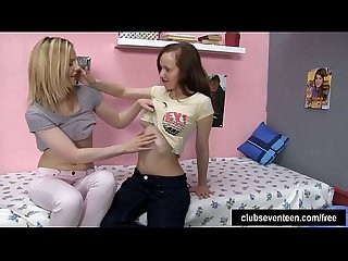 Lesbian teens lick twats in bedroom