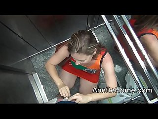 Blowjob in the elevator amateur milf