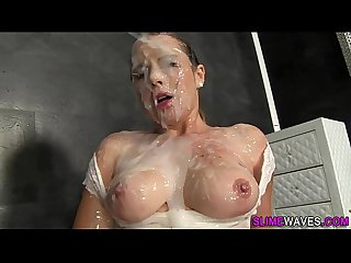 Glam slut eats rubber rod