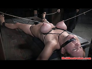 Breastbondage sub getting her ass punished