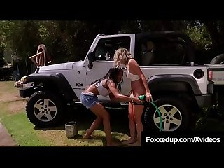 Car Wash Cunnilingus With Young Black Jenna Foxx & Shy Love!