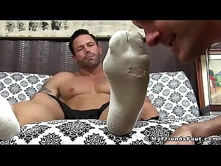 Stunning hunk daddy Joey feet licked by his man whore