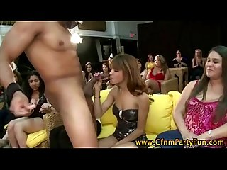 Cfnm real party girls suck stripper cock