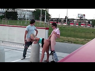 Extreme public street sex video of a young blonde girl and 2 teen guys threesome
