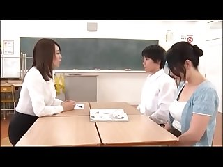 Japanese Milf teacher teach student for sex in front of student's mom - ReMilf.com