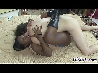 Kinky ebony slut rides on a dick