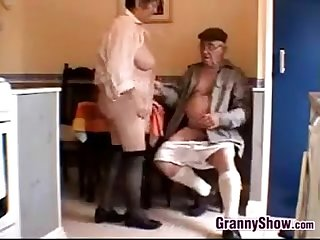 Horny grandma and grandpa having sex