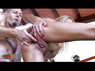 Blonde milf brutal fuck in her ass and squirting