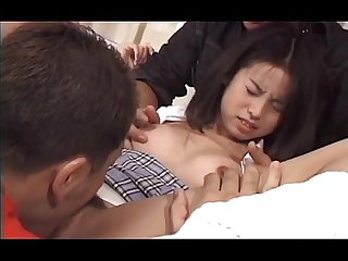 Jap tiny wet snatch vibed and fingered by two guys in close-up