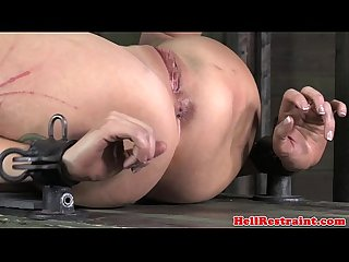 Hogtied busty bdsm sub caned roughly