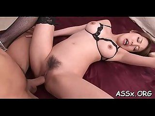Slutty asian stuffs a lady finger into her lusty butt aperture