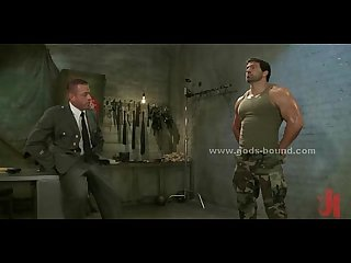 Strong brunette gay soldier punished by boss in bondage brutal gay fuck