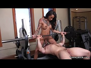 Huge dick busty tranny bangs guy at the gym